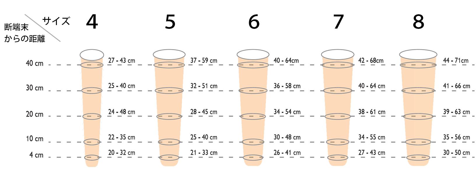 ステップラインプラス AKのサイズ図