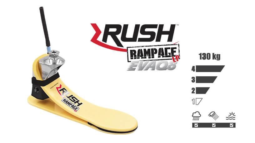 <b>ガラス繊維強化樹脂製足部</b><br>RUSH RAMPAGE LP EVAQ8