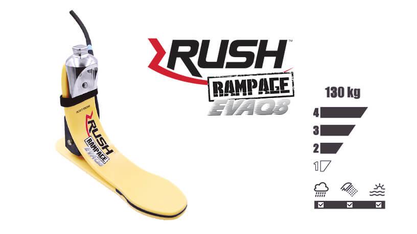 <b>ガラス繊維強化樹脂製足部</b><br>RUSH RAMPAGE EVAQ8